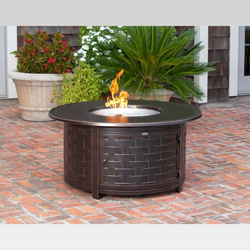Perissa Woven Round Cast Aluminum LPG Gas Fire Pit Brown - Cast aluminum gas fire pit table