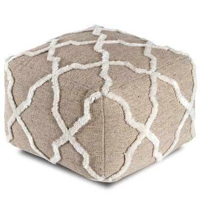 B Sides Moroccan Inspired Pouf Brown/Ivory - Anji Mountain