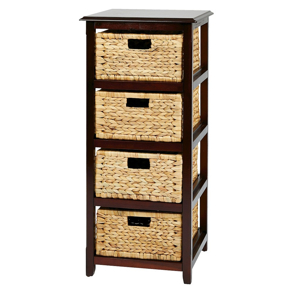 Image of Seabrook Four-Tier Storage Unit With Espresso (Brown) Finish and Natural Baskets - Office Star