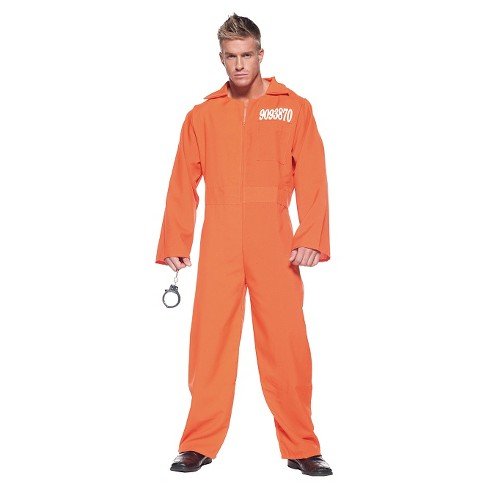 Men's Prison Jumpsuit Costume Orange One Size Fits Most - image 1 of 1