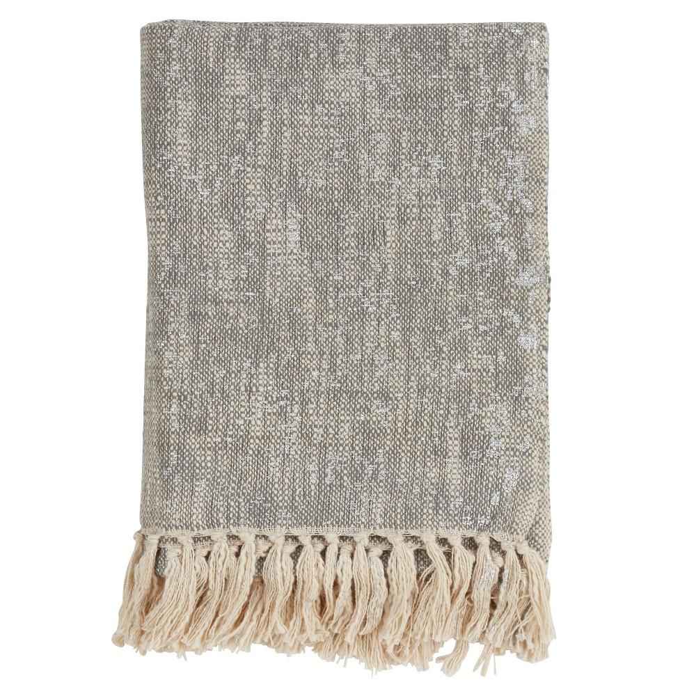 """Image of """"50""""""""x60"""""""" Foil Print Tasseled Throw Blanket Silver/Gray - Saro Lifestyle"""""""
