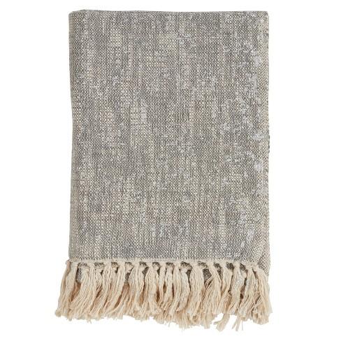 50 X60 Foil Print Tasseled Throw Blanket Saro Lifestyle Target