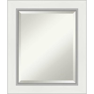 "21"" x 25"" Eva White Silver Framed Bathroom Vanity Wall Mirror - Amanti Art"