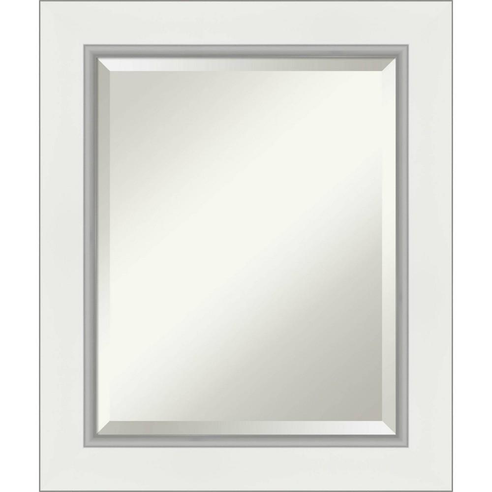 "Image of ""21"""" x 25"""" Eva Framed Bathroom Vanity Wall Mirror White/Silver - Amanti Art"""