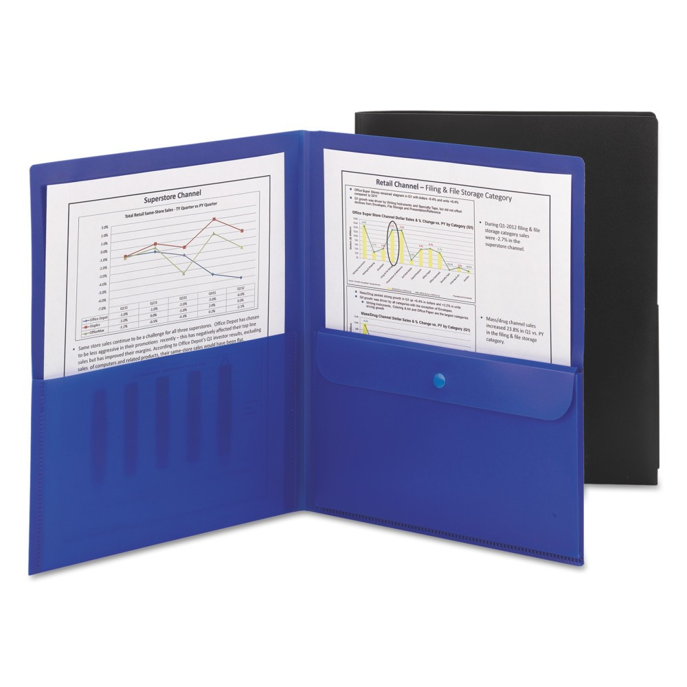 Image of SMead Poly Plastic Folder, 2 Pocket with Security Pocket, 5ct