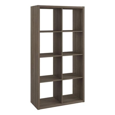 ClosetMaid 458500 Heavy Duty Decorative Bookcase Open Back 8-Cube Storage Organizer in Graphite Gray for Home, Closet, Office, or Toys