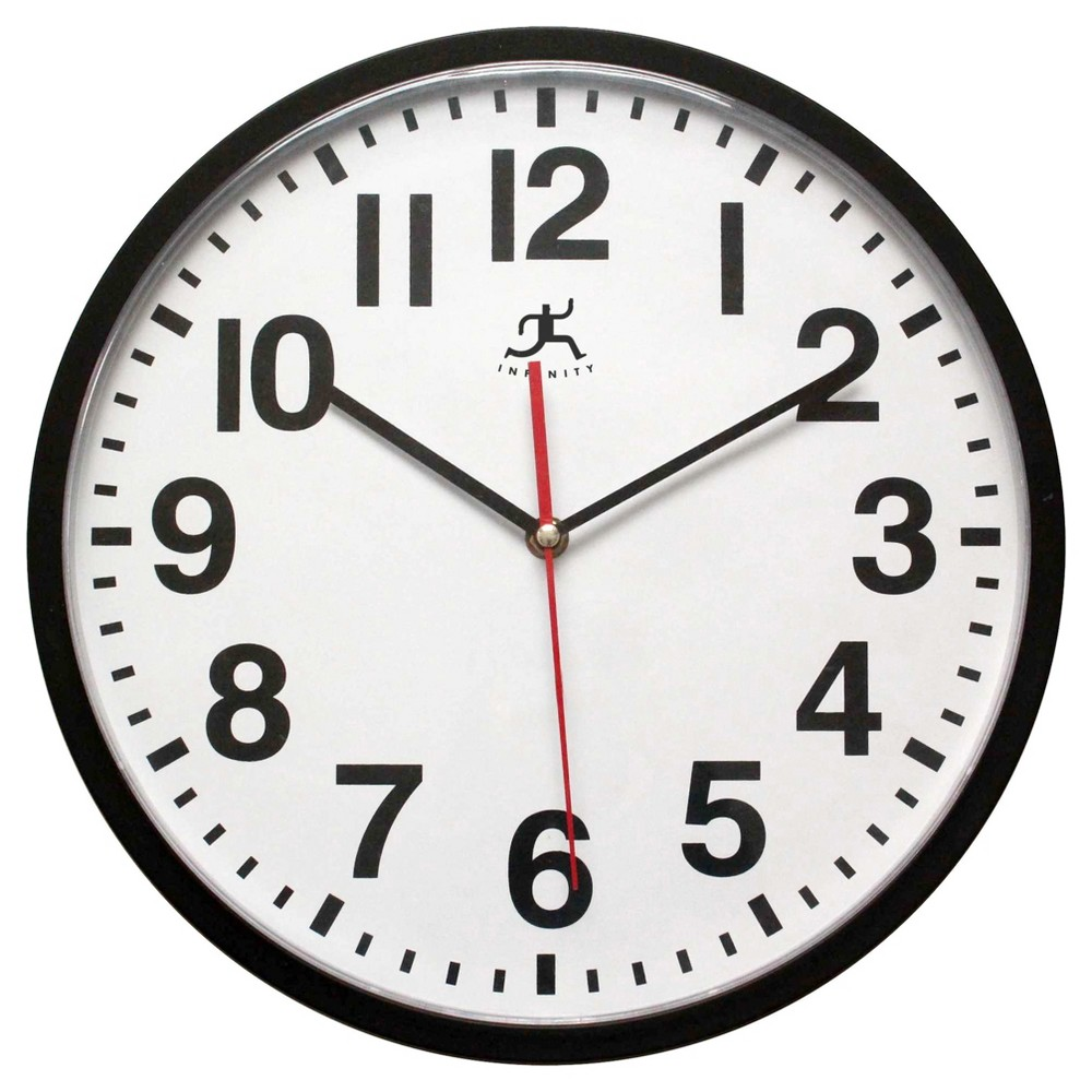 """Image of """"Pure Office 13"""""""" Round Wall Clock Black - Infinity Instruments"""""""