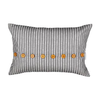 "Waverly 14""x22"" Stencil Vine Throw Pillow Charcoal"