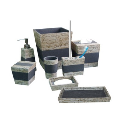 Rustic Cement Bath Accessory Set for Vanity Counter Tops Gray/Brown - Nu Steel