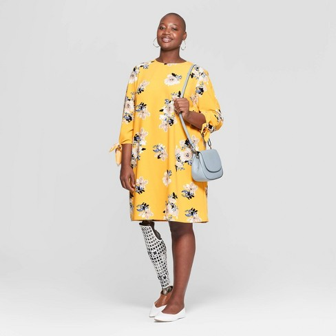 Women\'s Plus Size Floral Print Tie Sleeve Crewneck Shift Dress - Ava & Viv™  Yellow 4X