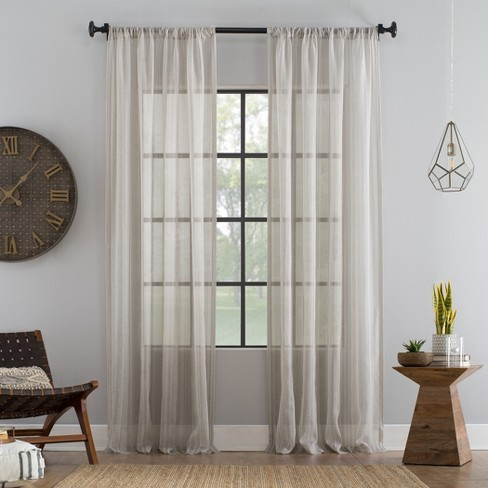 Ticking Stripe Textured Cotton Blend Sheer Curtain - Archaeo - image 1 of 4