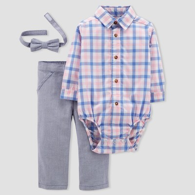 Baby Boys' 3pc Set with Bow Tie - Just One You® made by carter's Pink Gingham/Blue 6M