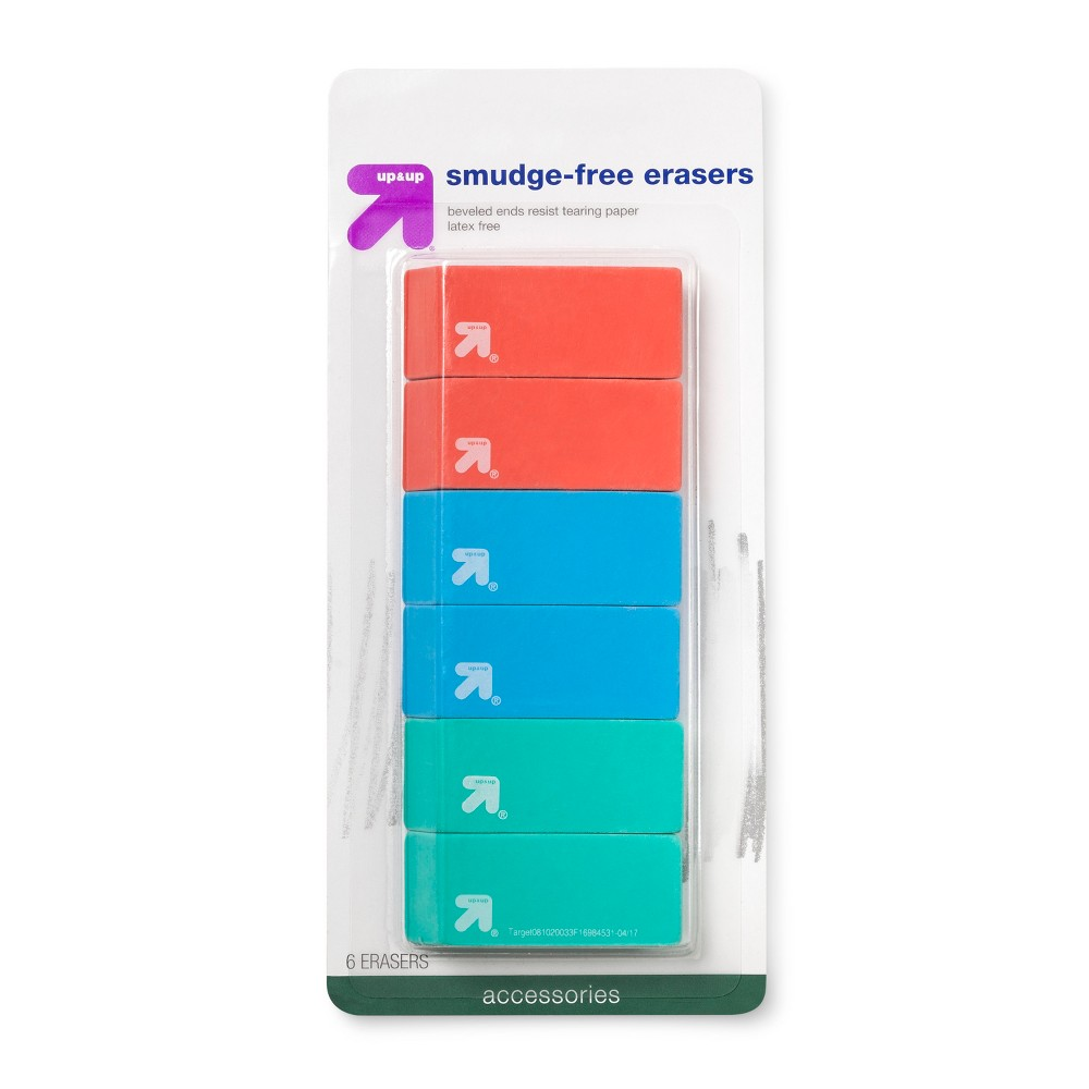 Smudge Free Erasers 6ct Up 38 Up 8482