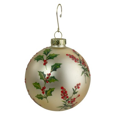"Northlight 4"" Glass Gold, Red, and Green Holly Berry Christmas Ornament"