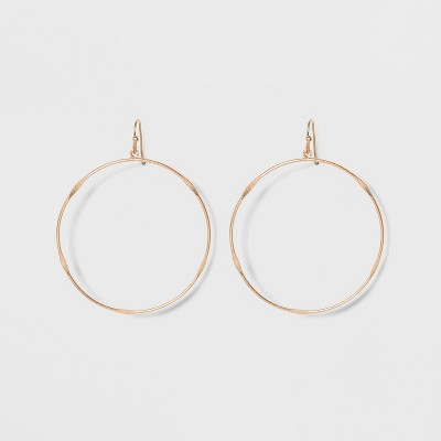 Textured Wire Hoop Drop Earrings - Universal Thread™ Gold