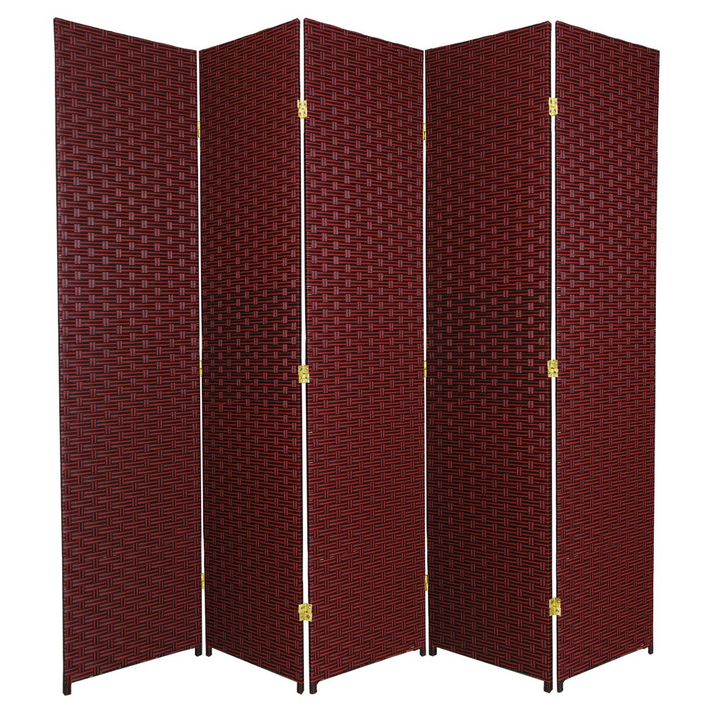 6 ft. Tall Woven Fiber Room Divider - Red/Black (5 Panels), Burgandian Wine