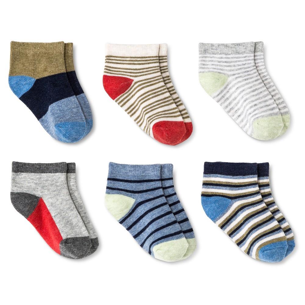 Baby Boys' 6-Pack Multi Stripe Low Cut Dress Socks Heather Gray 12-24M - Circo, Heather Grey