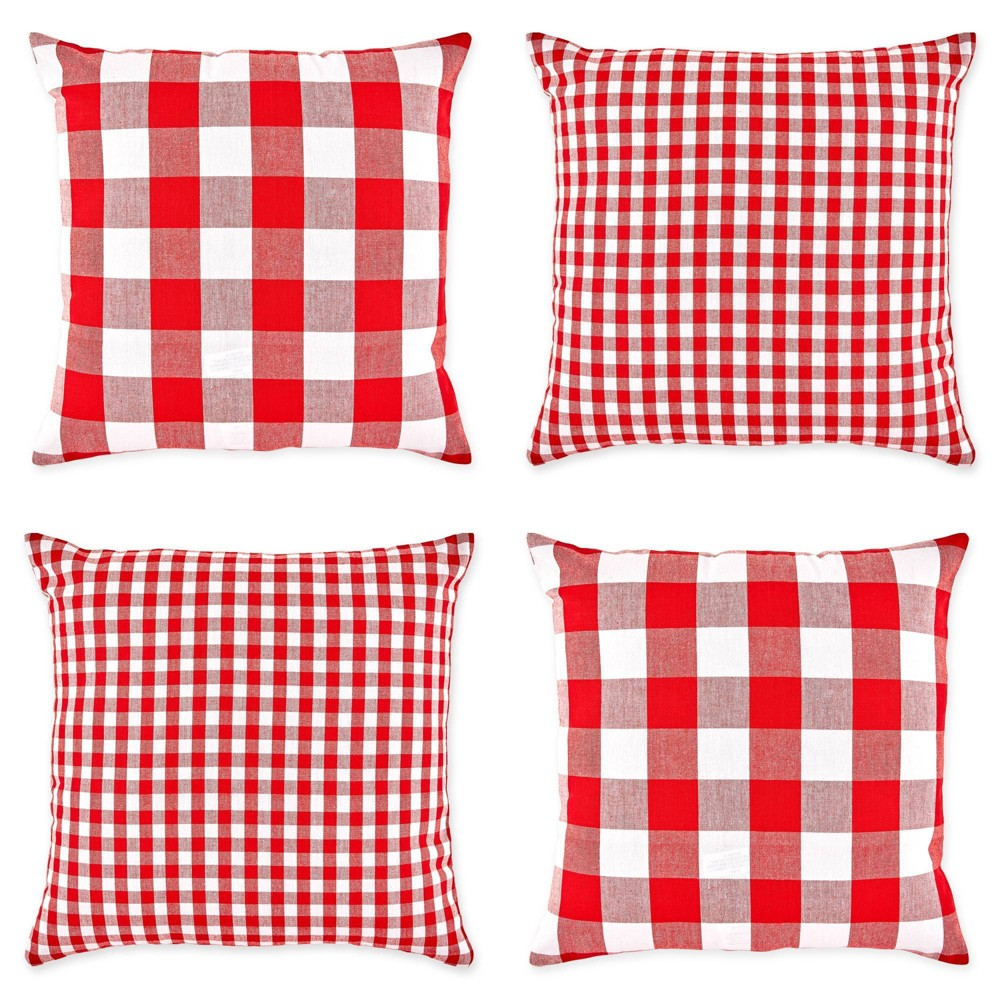 4pk 18 34 X18 34 Gingham Buffalo Check Assorted Square Throw Pillow Covers Design Imports