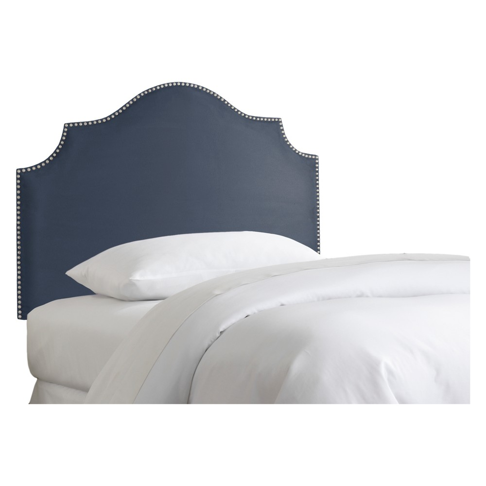 Kid's Nail Button Notched Headboard Full Premier Lazuli Blue with Pewter Nail Buttons - Pillowfort