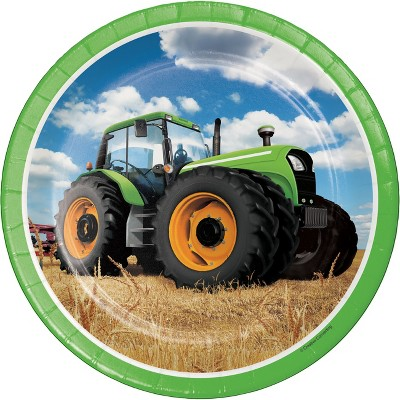 24ct Tractor Time Paper Plates Green