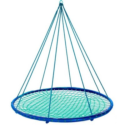 HearthSong Sky Island Outdoor Round Platform Swing for Kids, With Nylon Rope and Padded Steel Frame