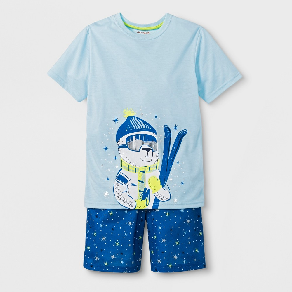 Boys' 2pc Short Sleeve Ski Bear Graphic Pajama Set - Cat & Jack Blue XL