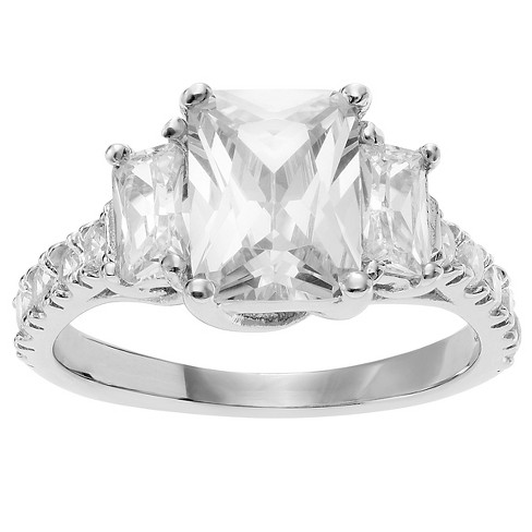 1 1/2 CT. T.W. Emerald-cut CZ Engagement Prong Set Three Stone Ring in Sterling Silver - Silver, 8.5 - image 1 of 2