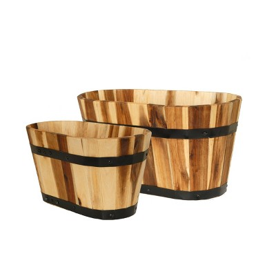 Set of 2 Acacia Oval Barrel Planters - Classic Home and Garden