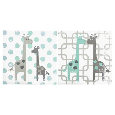 The Peanut Shell Canvas Wall Art Set 2pc - Uptown Giraffe