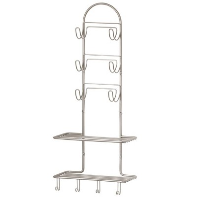 mDesign Metal Bathroom Organizer Shelves with 10 Hooks, Wall Mount