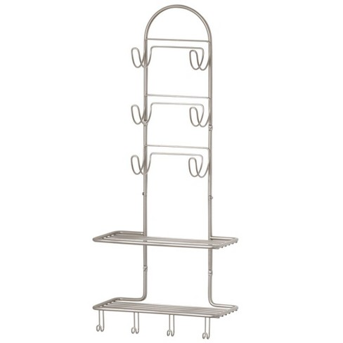 Mdesign Metal Bathroom Organizer Shelves With 10 Hooks Wall Mount Target