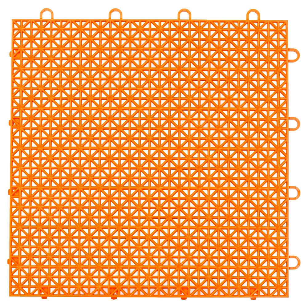 "Image of ""12""""x12"""" Armadillo Floor Tile 9 Pack - Fire Orange, Red Orange"""