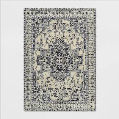 7'X10' Pavoria Vintage Persian Tufted Medallion Rug Charcoal Heather - Opalhouse™