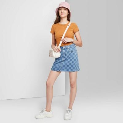 Women's Super-High Rise Denim Mini Skirt - Wild Fable™ Blue Check