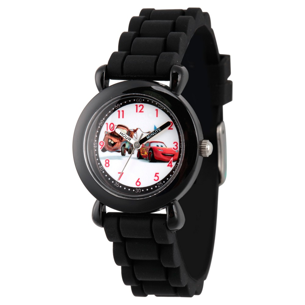 Image of Boys' Disney Cars Mater and Lightning McQueen Black Plastic Time Teacher Watch - Black, Boy's