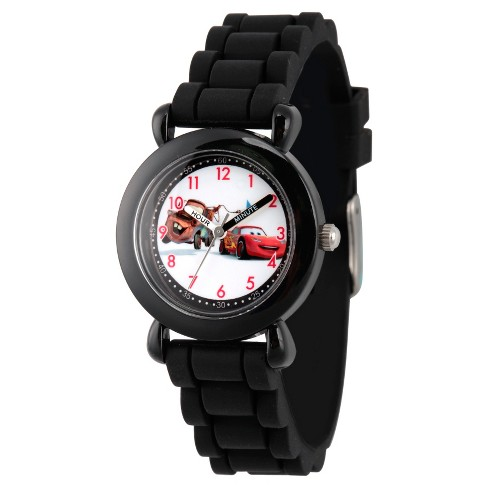 Boys' Disney Cars Mater and Lightning McQueen Black Plastic Time Teacher Watch - Black - image 1 of 2