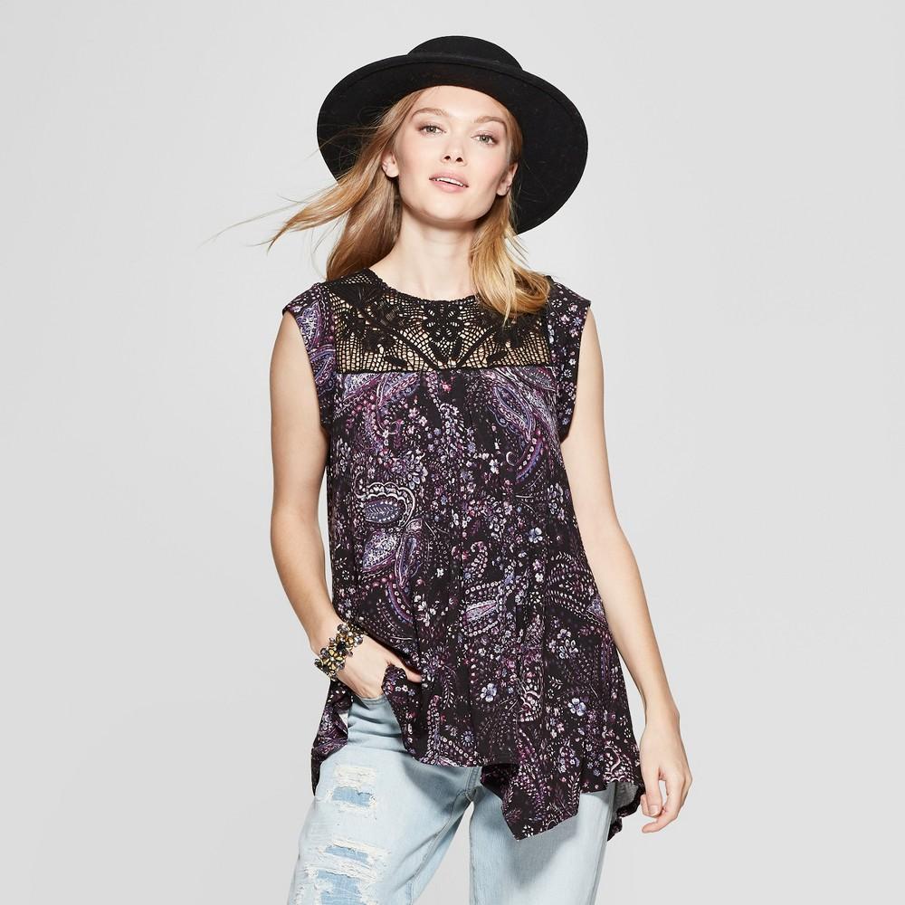 Women's Paisley Sleeveless Crochet Trim Tank Top - Knox Rose Black S