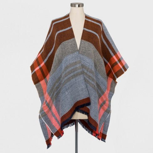 Women's Woven Plaid Poncho Sweater - Universal Thread™ Rust - image 1 of 2