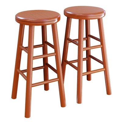 """2pc 24"""" Oakley Swivel Seat Counter Height Barstools Set Cherry - Winsome"""