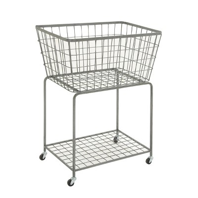 36 x 28 Industrial Metal Storage Cart Gray