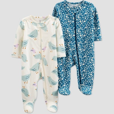 Baby Girls' 2pk Floral Sleep N' Play - Just One You® made by carter's Off-White/Blue