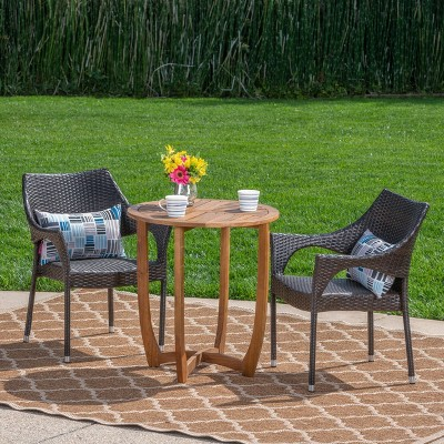 Clement 3pc Acacia and Wicker Bistro Set - Teak/Brown - Christopher Knight Home