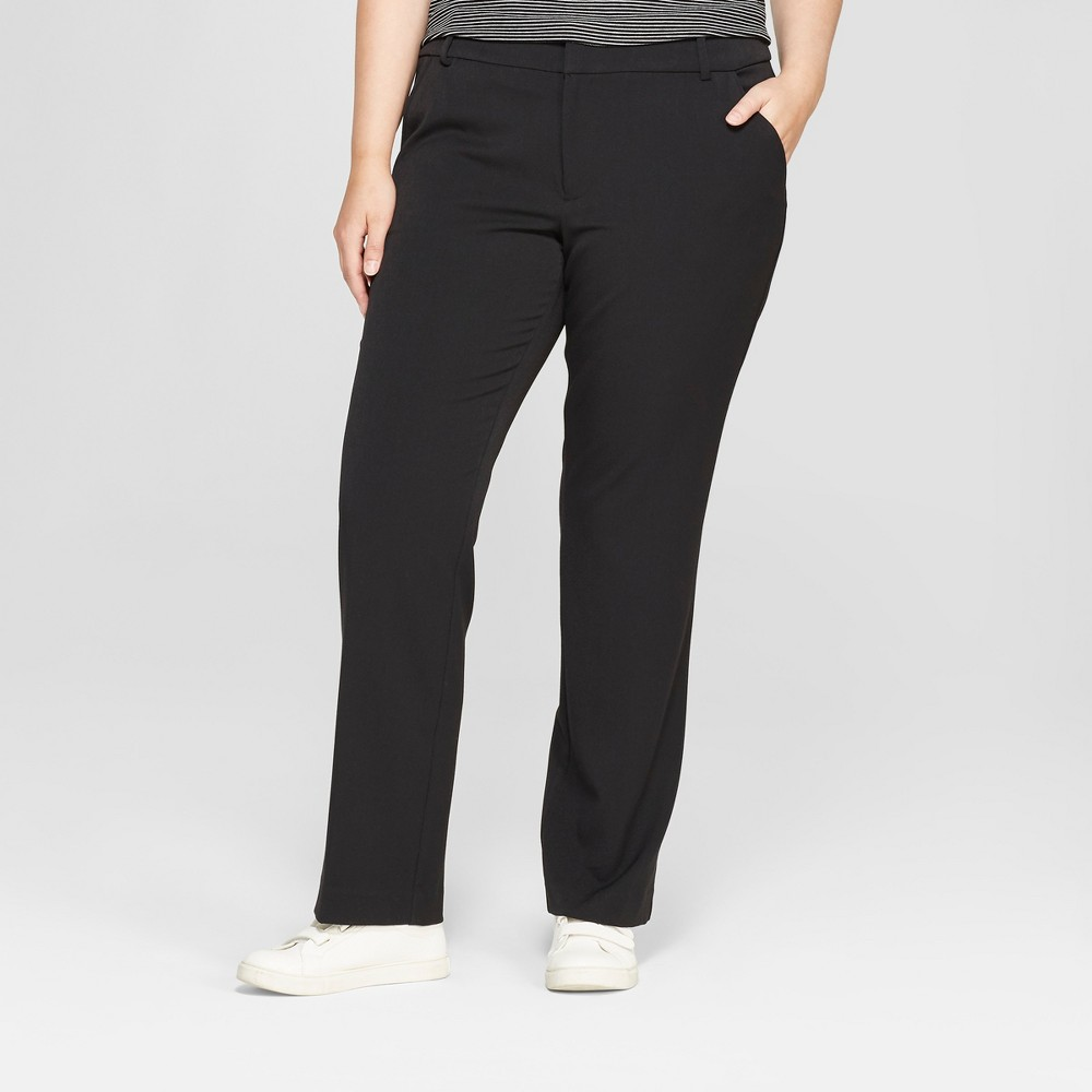 Best Review Women Plus Size Trouser Pants With Comfort Waistband Ava Viv Black 26W