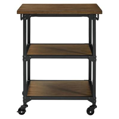 Kane Multifunction Cart Rustic Antique Oak/Black - Dorel Living