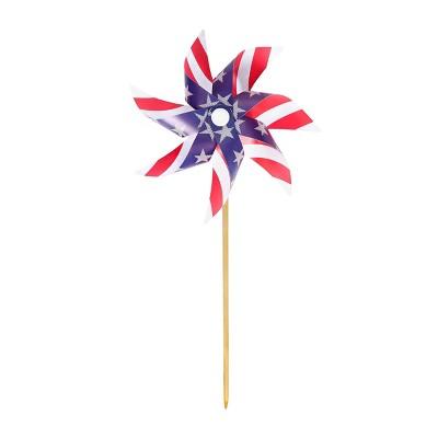 "40"" Pinwheel Metallic Stripes and Stars Red White Blue - Sun Squad™"