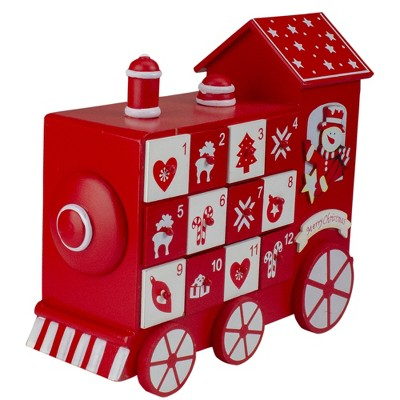 "Kaemingk 10.5"" Red and White Vintage Advent Calendar Train Christmas Decor"