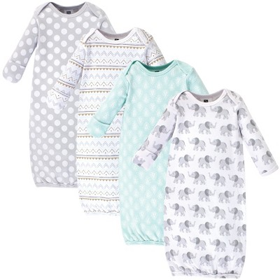 Hudson Baby Infant Cotton Long-Sleeve Gowns 4pk, Gray Elephant, 0-6 Months