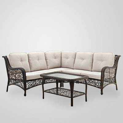4pc Random Weave Sectional with Cushions - Brown - Saracina Home
