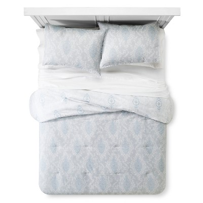 Printed Damask Comforter And Sham Set (King)Blue&Gray 3pc - Simply Shabby Chic™