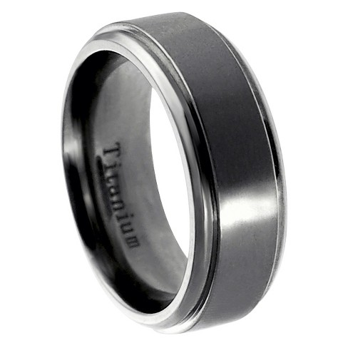 Daxx Men's Titanium Polished Edge Band - Silver - image 1 of 4